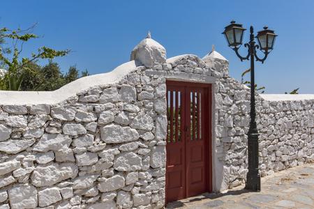 ano: Frontal view of Panagia Tourliani monastery inTown of Ano Mera, island of Mykonos, Cyclades, Greece