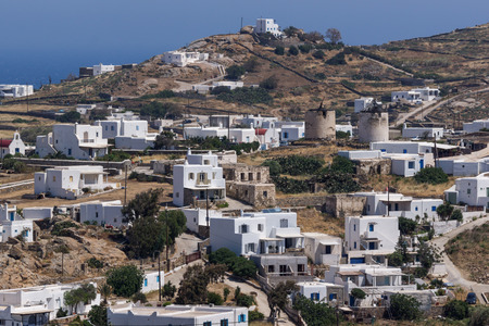 ano: Panoramic view of Town of Ano Mera, island of Mykonos, Cyclades, Greece