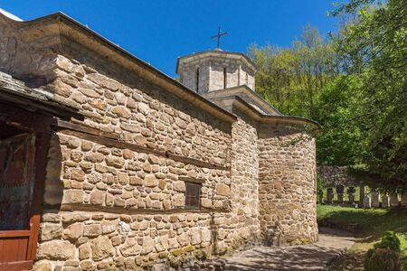 serbia landscape: Church and medieval cemetery in Temski monastery St. George, Pirot Region, Republic of Serbia