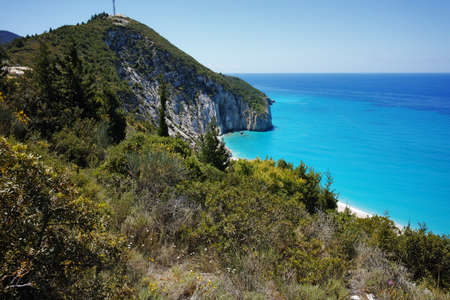 blue waters: Amazing view of Blue Waters of Milos Beach, Lefkada, Ionian Islands, Greece Stock Photo