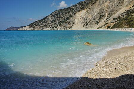 blue waters: Blue waters of Myrtos beach, Kefalonia, Ionian islands, Greece