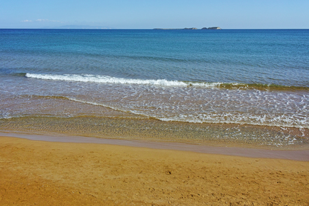 cefalonia: Panorama of Xi Beach,beach with red sand in Kefalonia, Ionian islands, Greece