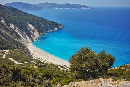 cefallonia: Blue waters of Myrtos beach, Kefalonia, Ionian islands, Greece