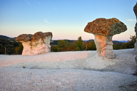Prodigy: Stone Mushrooms colored in red from Sunrise near Beli plast village, Kardzhali Region, Bulgaria