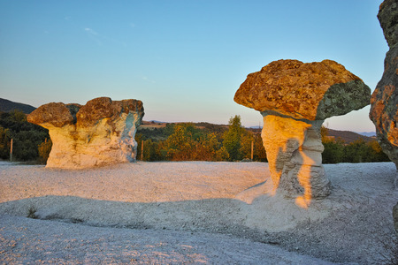 Prodigy: Morning landscape of rock formation The Stone Mushrooms near Beli plast village, Kardzhali Region, Bulgaria