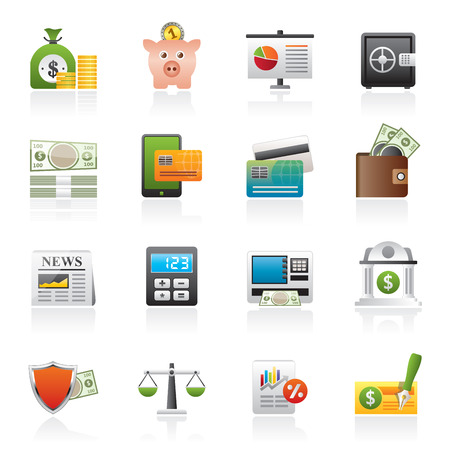 bill board: banking and financial services icons - vector icon set Illustration