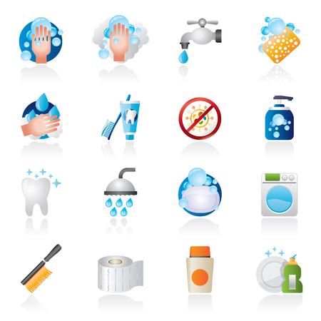 disinfectant: Cleaning and hygiene icons - vector icon set