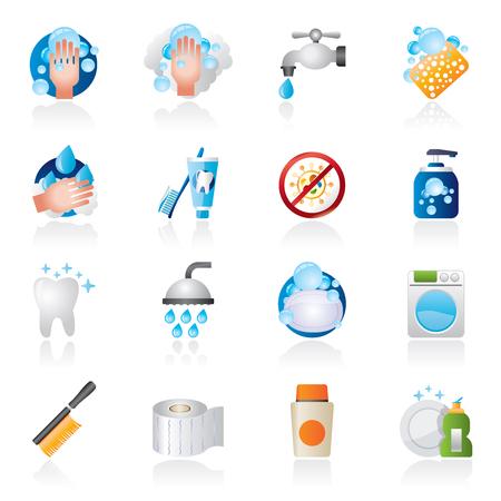 desinfectante: Limpieza e higiene iconos - Vector Icon Set Vectores