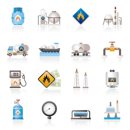 Erdgas Brennstoff- und Energieindustrie Symbole - Vektor-Icon-Set