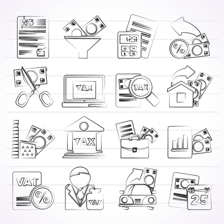 taxpayer: Taxes, business and finance icons - vector icon set