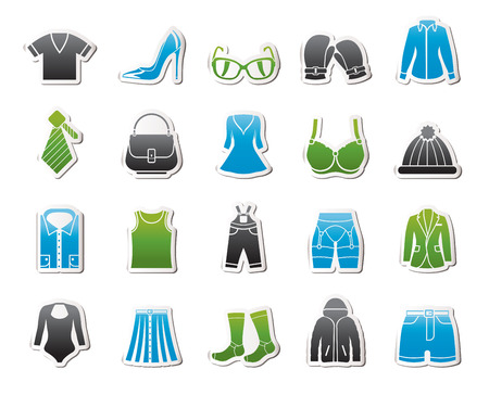 fashion clothing: Fashion and clothing and accessories icons - vector icon set