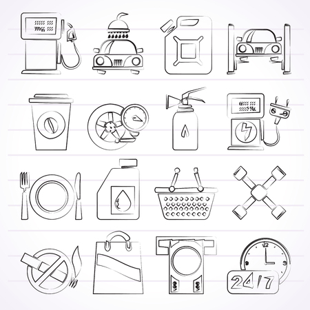 car bills: Gas Station Services Icons  - vector icon set