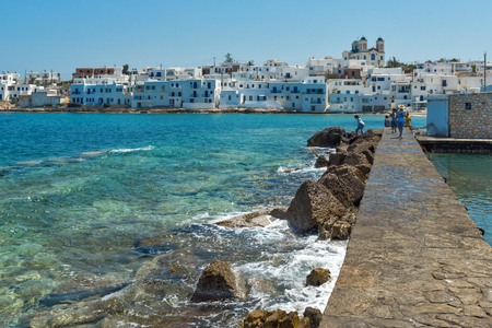 cyclades: Panoramic view of town of Naoussa, Paros island, Cyclades, Greece Stock Photo