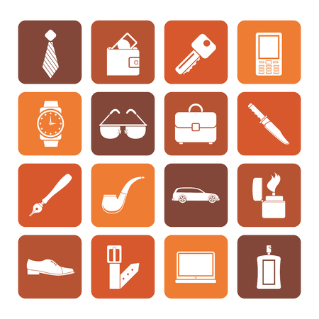 pocket book: Flat man accessories icons and objects- vector illustration Illustration