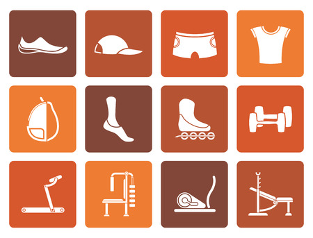 objects equipment: Flat sports equipment and objects icons - vector icon set 1