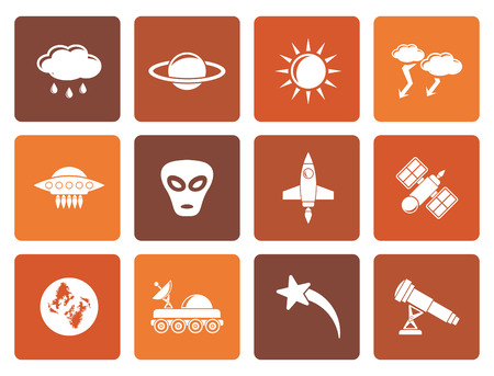 astronautics: Flat Astronautics and Space and universe Icons - Vector Icon Set