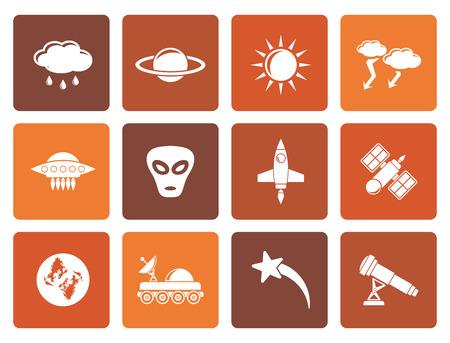 astronautics: Flat Astronautics and Space and universe Icons - Vector Icon Set