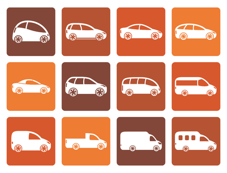 combi: Flat different types of cars icons - Vector icon set Illustration