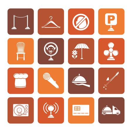 night bar: Flat restaurant, cafe, bar and night club icons - vector icon set