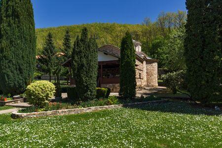 serbia landscape: Spring landscape with Church of Temski monastery St. George, Pirot Region, Republic of Serbia Stock Photo