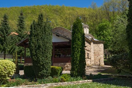 serbia landscape: Amazing landscape with Cypresses and church in  Temski monastery St. George, Pirot Region, Republic of Serbia