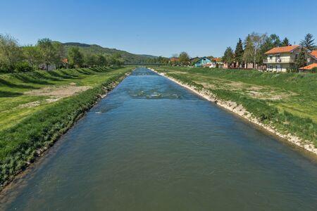 balkan peninsula: Nisava river passing through the town of Pirot, Republic of Serbia