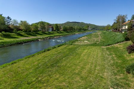 serbia landscape: Amazing Landscape of Nisava river passing through the town of Pirot, Republic of Serbia Stock Photo