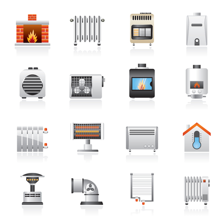 heating: Home Heating appliances icons - vector icon set