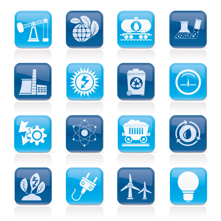 production of energy: power and energy production icons - vector icon set