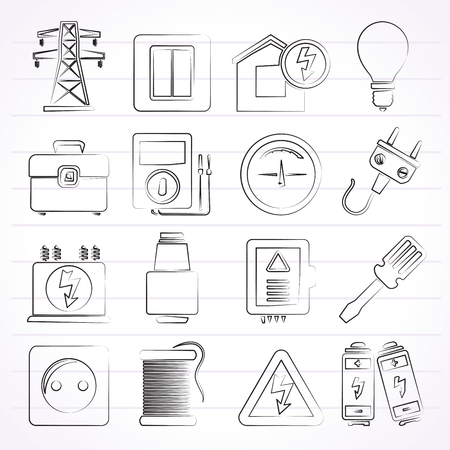 electric meter: Power, energy and electricity icons - vector icon set