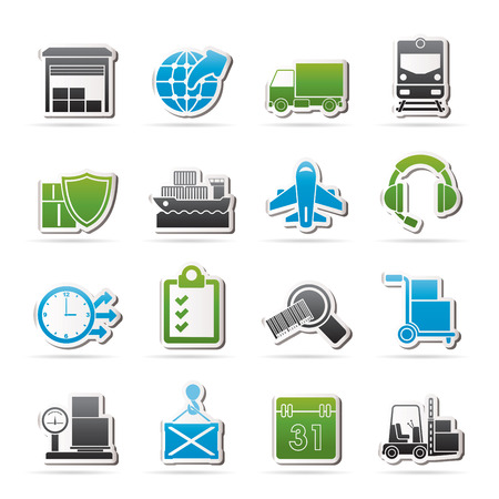 loading dock: Logistic, cargo and transportation icons - vector icon set