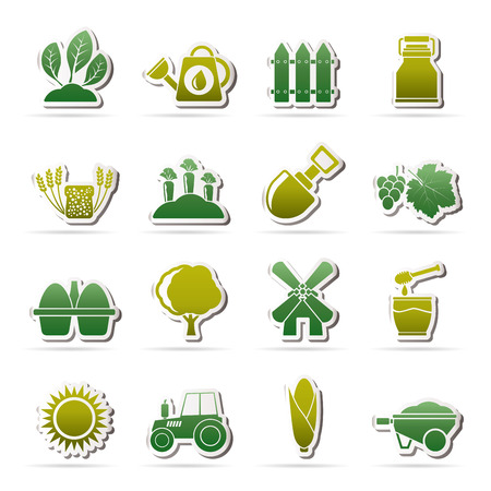 menu land: Agriculture and farming icons - vector icon set