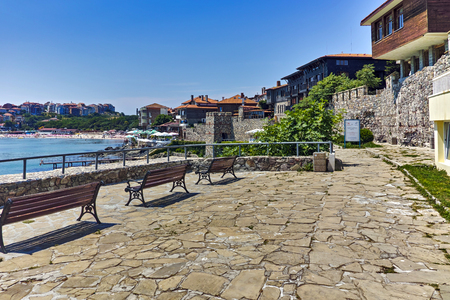 archeologist: Panoramic view of Sozopol town and black sea, Burgas Region, Bulgaria