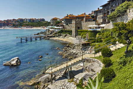 archeologist: ancient fortifications and Panoramic view of Sozopol town Burgas Region, Bulgaria