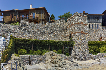 fortifications: ancient fortifications and old houses of Sozopol, Burgas Region, Bulgaria
