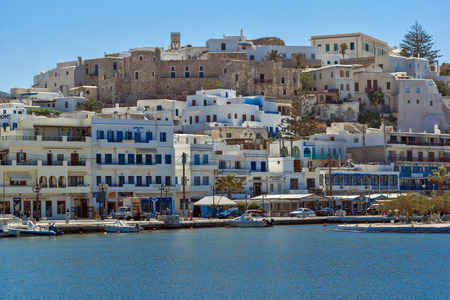 chora: Panoramic view of chora town, Naxos Island, Cyclades, Greece Editorial