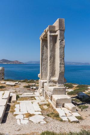 naxos: Close up view of Portara, Apollo Temple Entrance, Naxos Island, Cyclades, Greece