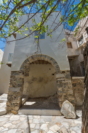 chora: Small street in Chora town, Naxos Island, Cyclades, Greece Stock Photo