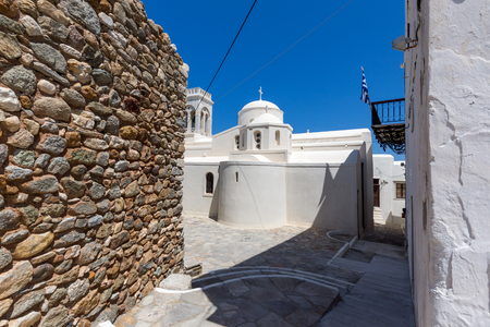 chora: Catholic church and Square in Chora town, Naxos Island, Cyclades, Greece