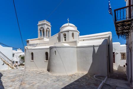 naxos: Catholic church in Chora town, Naxos Island, Cyclades, Greece Stock Photo