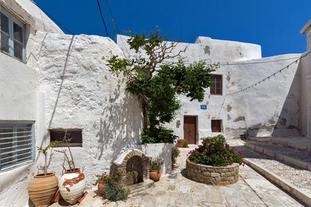 paisaje mediterraneo: Las casas antiguas en la fortaleza de la ciudad de Chora, la isla de Naxos, Cícladas, Grecia