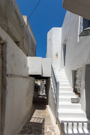naxos: Street and white houses in Chora town, Naxos Island, Cyclades, Greece Editorial