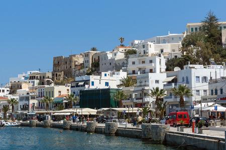 chora: Embankment of Chora town, Naxos Island, Cyclades, Greece