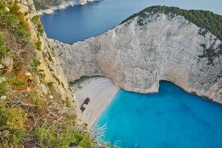 blue waters: Blue waters of Navagio Shipwreck beach, Zakynthos, Greece