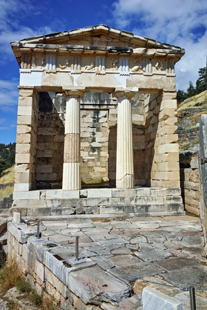 treasury: Building of Treasury of Athens in Ancient Greek archaeological site of Delphi,Central Greece