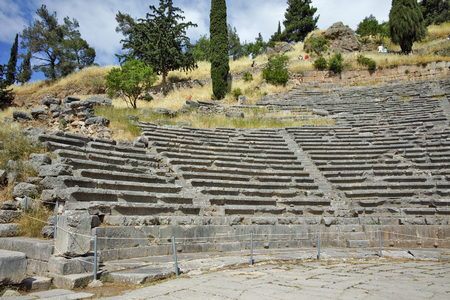 delphi: Amphitheater in Ancient Greek archaeological site of Delphi,Central Greece