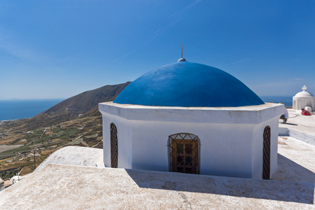 thira: Blue roof of church and Panoramic view to Santorini island, Thira, Cyclades, Greece