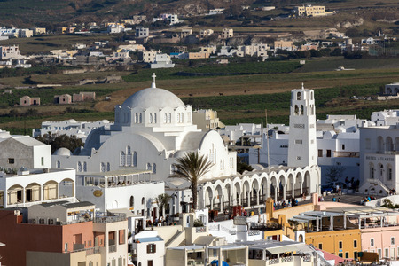 thira: White Church town of Fira, Santorini island, Thira, Cyclades, Greece