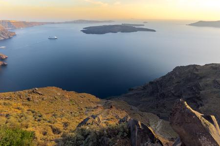 thira: Amazing sunset panorama to Santorini island, Thira, Cyclades, Greece
