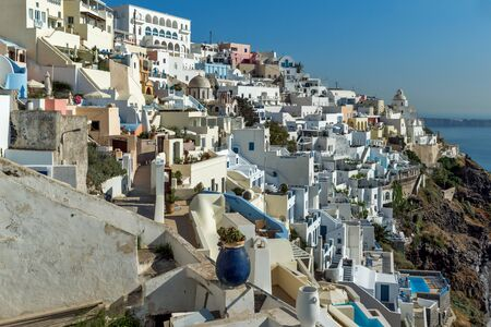 cyclades: White houses in Fira, Santorini island, Thira, Cyclades, Greece Editorial